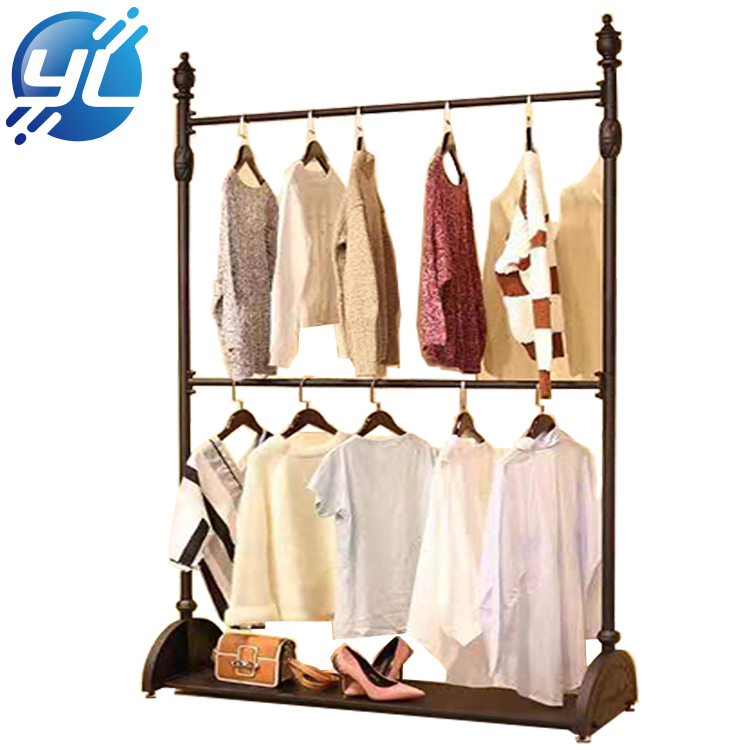 Brown Shiny Clothes Hanging Display Cabinet Rack for Furniture