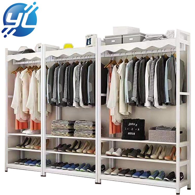 White Metal Clothing Display Rack For Clothes Store Design