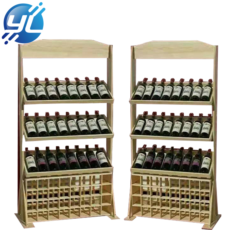 Custom retail shop floor wine bottle MDF wooden display stand