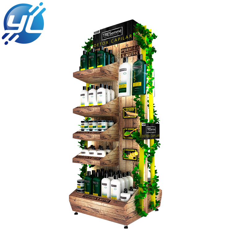 Wholesale  wooden shampoo display rack for retail store