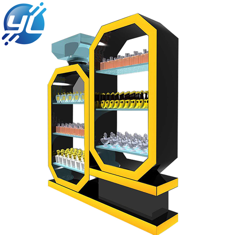 Fashion shopping mall makeup kiosk furniture metal perfume display rack
