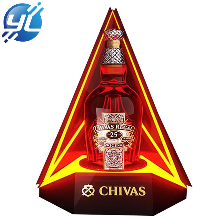 Acrylic Illuminated Liquor 1 Bottle Holder Led Cellar Wine Display Rack