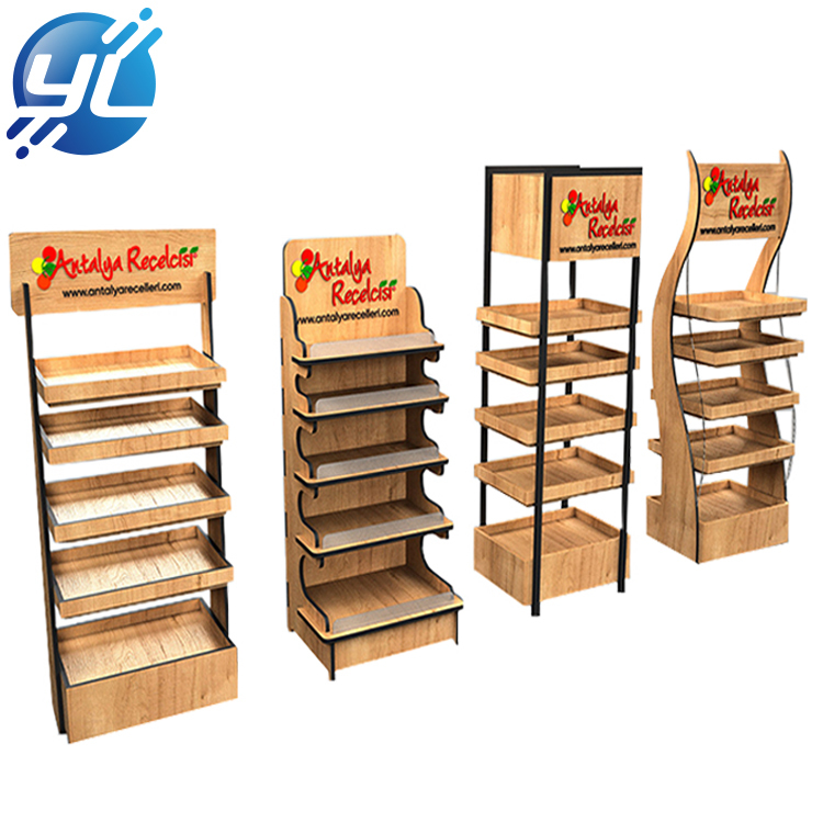 Advertising wooden Point of Sale POP Display Stand, Food Display Rack