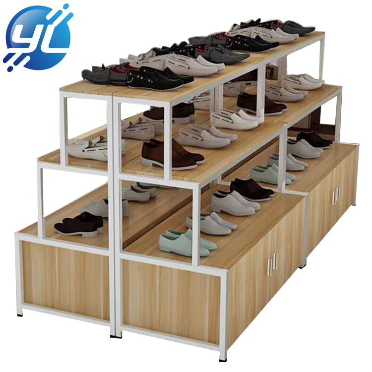 Customized Promotion Wooden Floor Display Shoe Rack Display