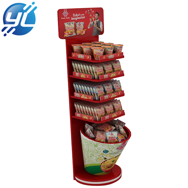 Supermarket Floor Metal Snack Display Racks Beverage Shelf Instant Noodles Pop Display Stand
