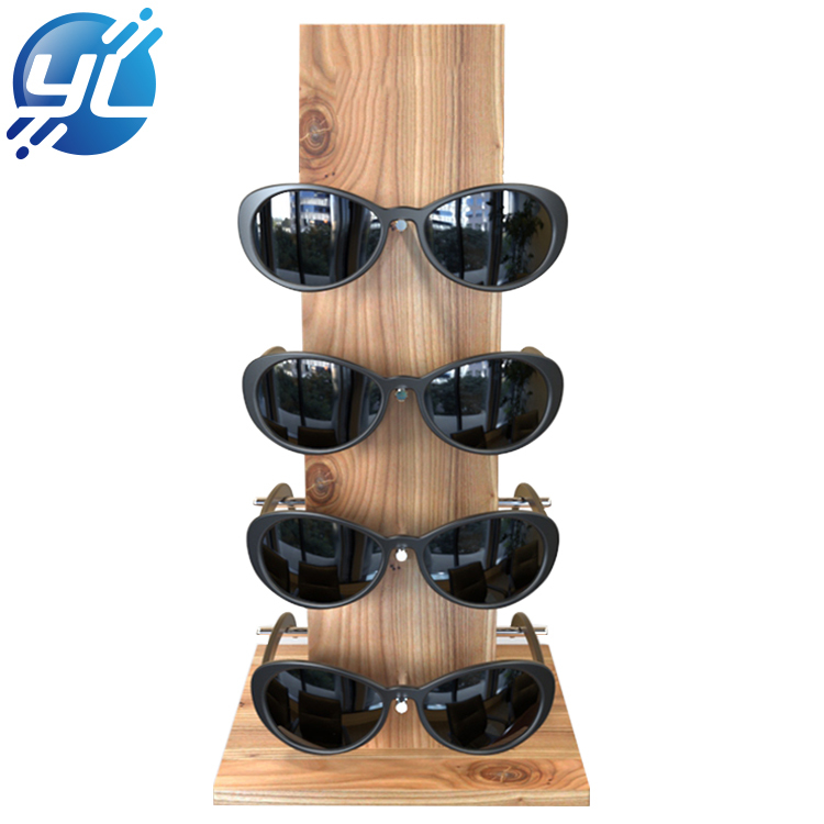Eco friendly custom logo  wooden sunglasses display stand