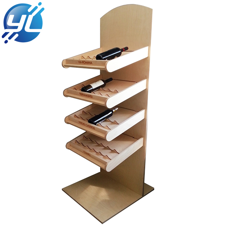 Wood display shelf storage red wine rack for store
