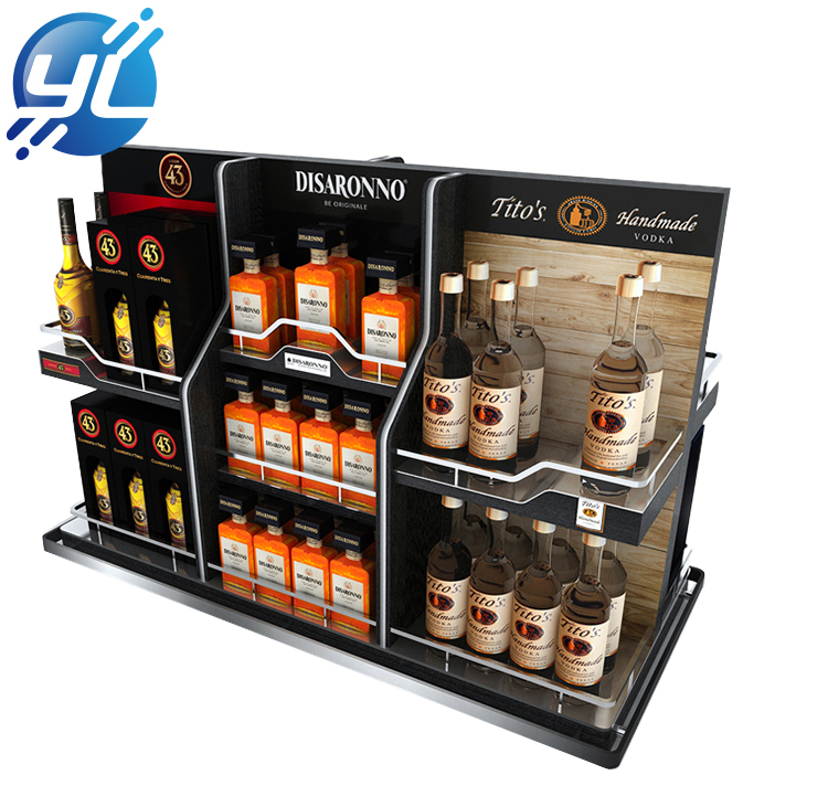 Wholesale boutique wooden rack supermarket wine display cabinet