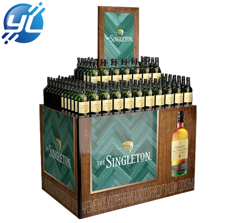 Supermarket customized wooden wine cabinet display rack for sale