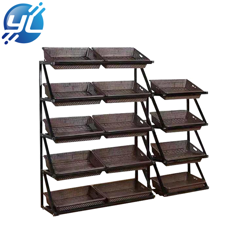 Custom 5 Tiers Supermarket Shelf Fruit Vegetable Display Rack