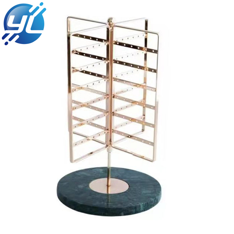 Creative display stand with marble base, earring storage for jewelry