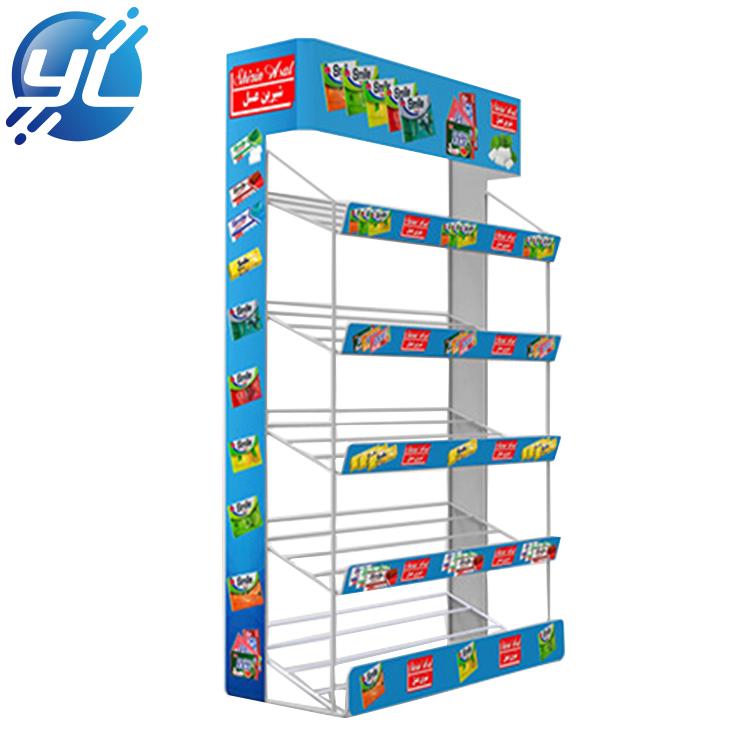 5-Tiered Sign Channels Metal chewing gum Display Supermarket Countertop Display Rack