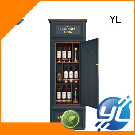 YL wine bottle rack displaying red wine